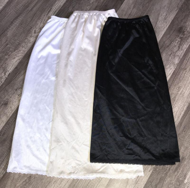 Lot of 3 Vanity Fair Vintage Nylon Half Slips Beige,Black & White
