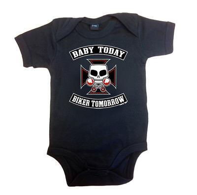Rockabilly Baby Body Strampler BABY TODAY BIKER TOMORROW schwarz