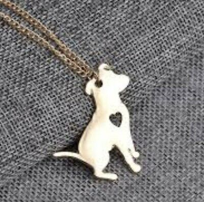 Silhouette Pendant Bully Dog Gold Plated Chain Necklace Gift Rescue Puppy