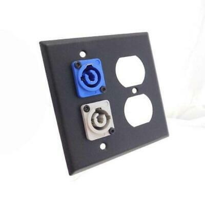 ProCraft 2 Gang Black Wall Plate AC Duplex Neutrik PowerCon In (Blue) Out (Gray) Duplex Out Wall Plate