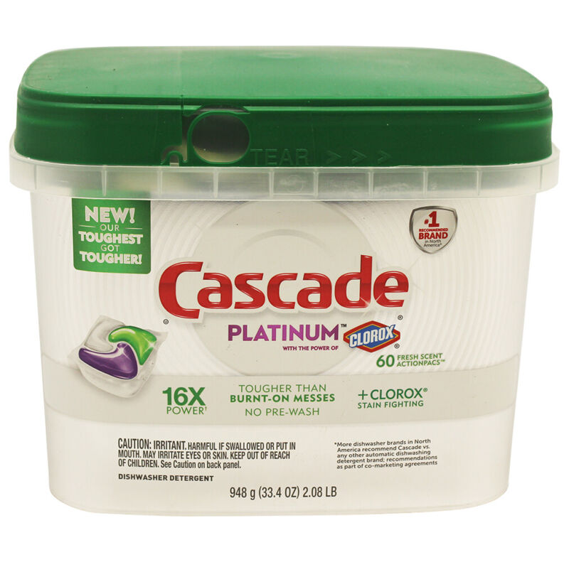 60 Pack Cascade Platinum ActionPacs Dishwasher Detergent With Clorox Fresh Scent