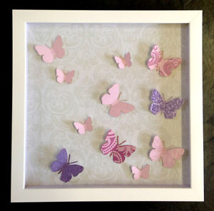 NEW Luxury Handmade 3D Butterfly Picture Box Frame Wall Art 30cm Pink Lilac Whit