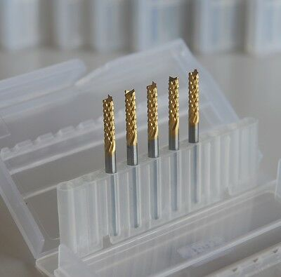 5pcs 2.4mm Titanium Coated Carbide End Mill Engraving Bits For Cncpcb New