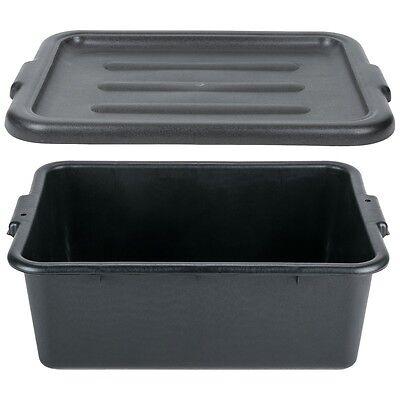 6 Pack 20 X 15 X 7 Black Storage Dish Plastic Restaurant Food Bus Tub W Lid