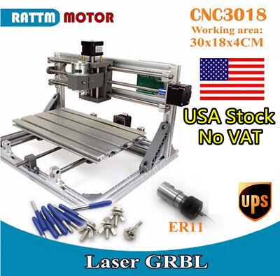 Usa 3 Axis Cnc3018 Diy Cnc Router Kit Pcb Wood Pvc Engraving Machine Grbler11