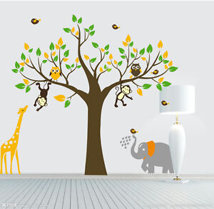 Monkey-elephant-owl-giraffe-tree-Quote-Wall-Stickers-Vinyl-Decor-Kids-Nursery-AU