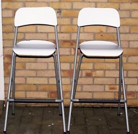 TWO STRONG IKEA FRANKLIN FOLDABLE BAR STOOLS, WHITE WITH GREY TUBULAR LEGS, CAN DELIVER