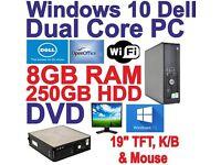 Windows 10 Dell Dual Core 2x3.00GHz Desktop PC Computers - 8GB RAM - 250GB HDD