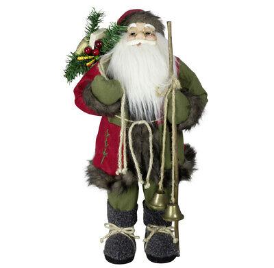 Weihnachtsmann 60cm Deko Figur Luca Santa Nikolaus Weihnachts Dekoration grün