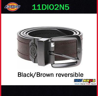 Dickies Mens 38mm Reversible Jean Belt, 11DI02N5 BLACK / BROWN Buckle Size 32-44 ()