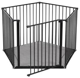Black Babydan playpen / extended room divider / stair gate with blue playmat