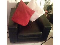 Black leather sofa 3+2+1