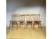 Vintage Ercol 391 stick back dining kitchen chairs 1960s mid century