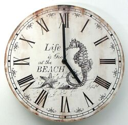 Life is Good at the Beach Seahorse Nautical Vintage-Style 12 Wood Wall Clock