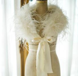 Luxury bridal shrug Ivory silk wedding Ostrich Feather stole genuine women's bridesmaid