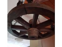 Vintage wheel ceiling light fitting with 3 bulb holders
