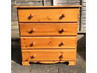 4 draw set of pine drawers