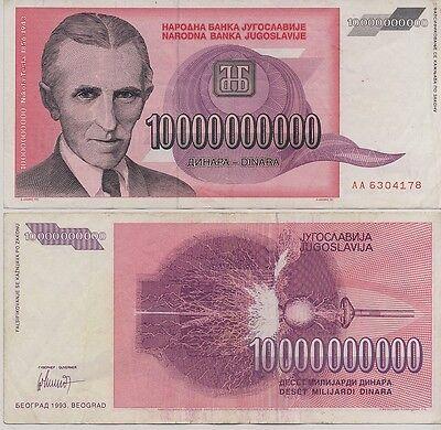 SCARCE Nikola TESLA 10, 000, 000, 000 Dinar Genuine Currency Foreign Note Money!