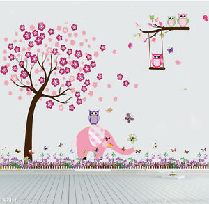 Owl plum tree elephant wall art stickers kids nursery vinyl decal