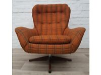 Vintage Swedfurn Swivel Chair (DELIVERY AVAILABLE FOR THIS ITEM OF FURNITURE)