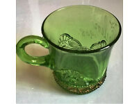 antique green glass gold embossed cup