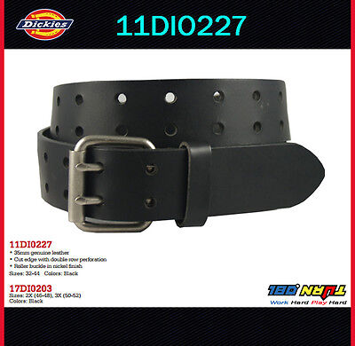 New Dickies Mens Two Hole Double Prong Bridle Black Leather  Belt 11DI0227 (New Dickies Black Belt)