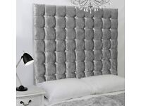 Double 4ft6 Divan Bed & Big Diamante or Buttoned Headboard Crush Velvet BRANDNEW Fast delivery