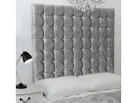Silver Crush Velvet Divan & 6 Tier Big diamante Headboard BRANDNEW Factory Wrapped Fast Delivery