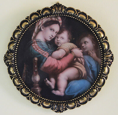 Ant Raphael Raffaello Madonna Italy Milan Chapel Souvenir Print Wood Gilt Frame