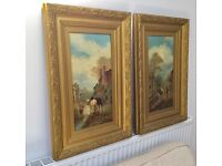 PAIR OF VINTAGE ANTIQUE ORIGINAL OIL PAINTINGS, HORSES COUNTRYSIDE SCENE, GOLD PAINTED WOODEN FRAMES