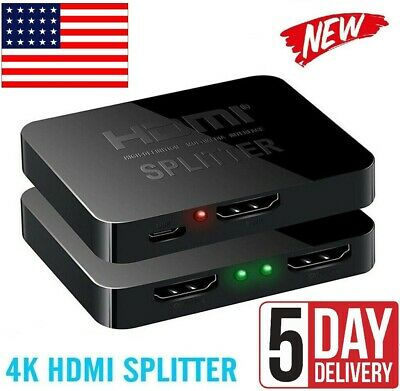 1 in 2 out 1080p HDMI 4K HDCP Stripper 3D Splitter Power Signal Amplifier For TV
