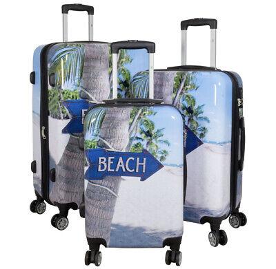 Große Trolley (Hartschale Koffer bunt Kofferset Beach Trolley Handgepäck klein Reisekoffer groß)