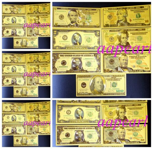 35pcs golden Crafts Banknotes ( US $ 1 - 100 dollar 5 sets ) plastic paper money