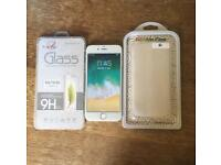 IPhone 6 Silver White O2 Free Case & Glass Screen Protector