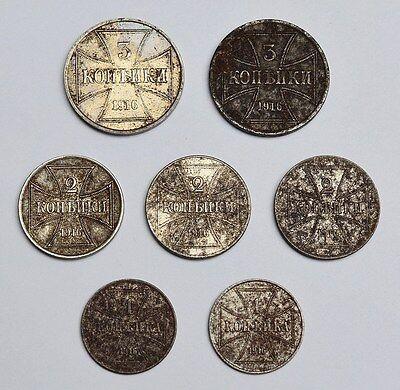 7 Münzen Deutsches Reich Nebengebiete Oberbefehlshaber Ost 1, 2 + 3 Kopeken 1916