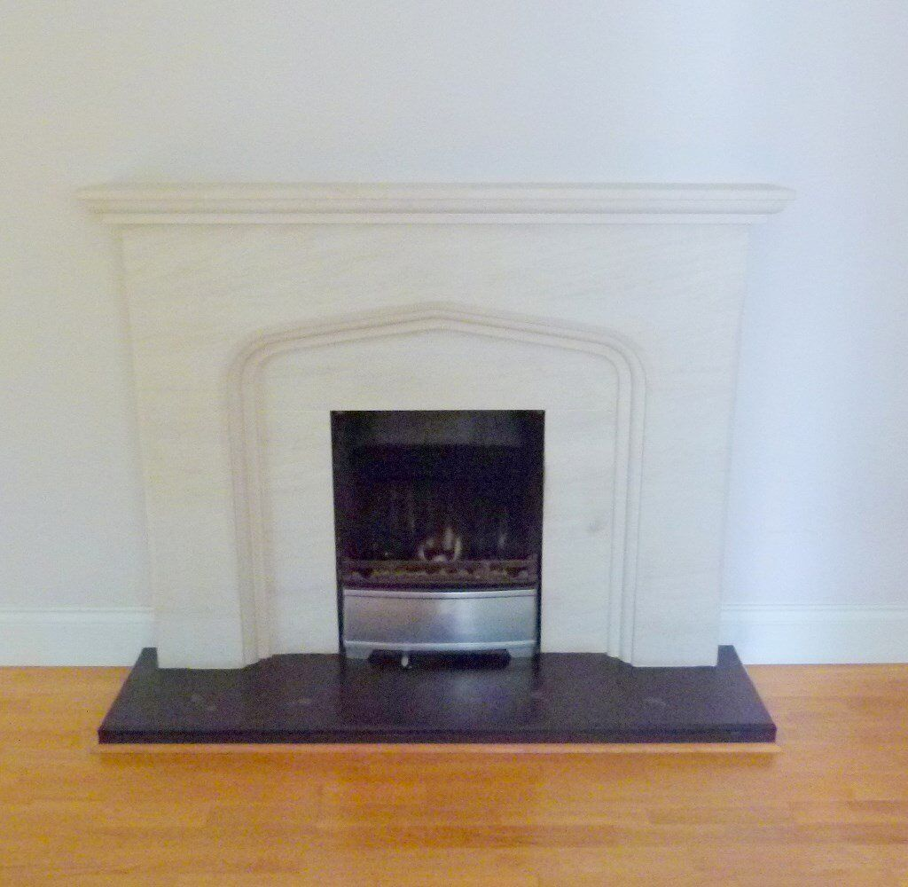 Beautiful Stone Fire Surround with cast iron Grate, excellent condition