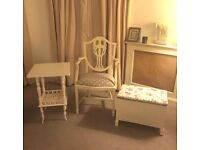 3 beautiful items of white furniture- armchair, side table, loom chest