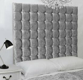 Silver Crush Velvet BRANDNEW Divan Bed & Extra High Big Diamante/Buttoned Headboard Fast Delivery