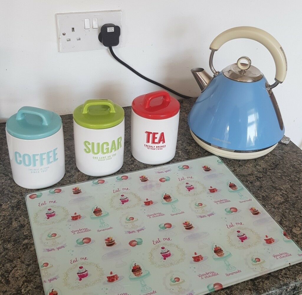 Kitchen Set Includes Kettle With Coffee Sugar And Tea Containers Glass Chopping Baord In Sunderland Tyne And Wear Gumtree