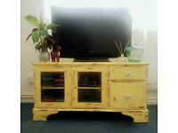 Upcycled TV Cabinet Shabby Chic Yellow