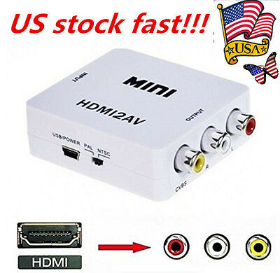 1080P AV CVBS Adapter HDMI to 3RCA Audio Video Converter For HDTV Composite US