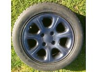 Set of Four Fourteen Inch Four Stud Alloy Wheels with 185-55-14 Tyres with decent tread