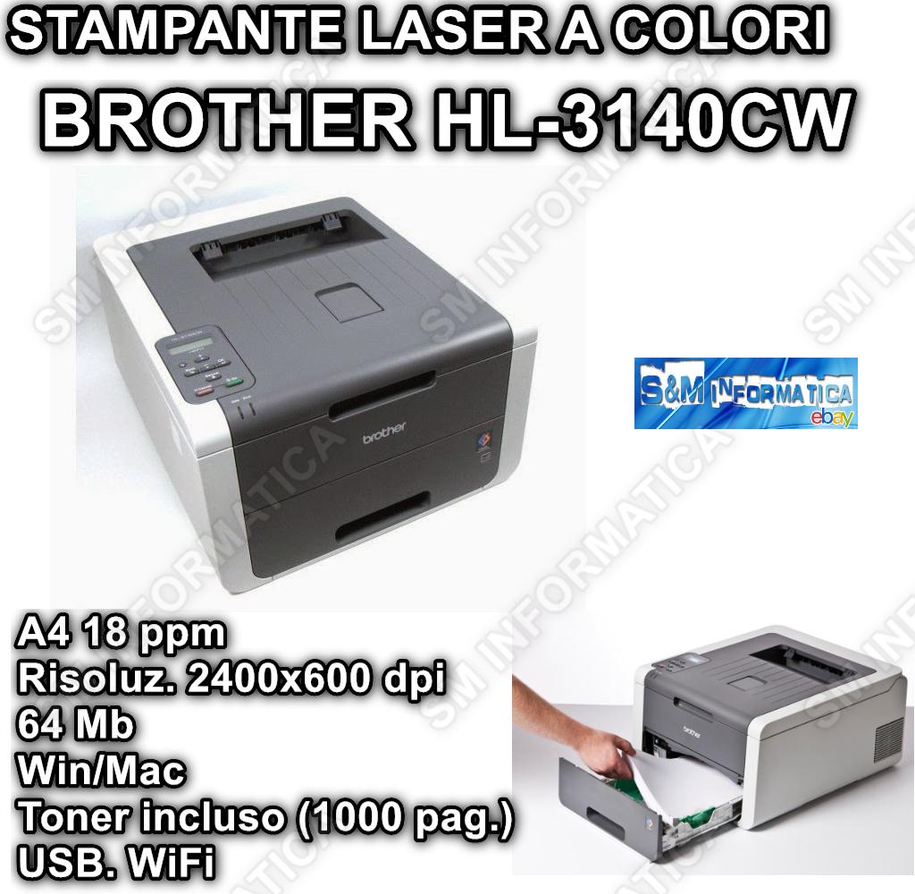 STAMPANTE BROTHER LASER COLORI A LED A4 64MB 250FF WIFI USB HL-3140CW WIN MAC