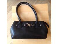 Small Black Handbag with Silver Detail