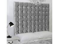 Silver Crush Velvet Bed and Big 6 Tier Diamante Headboard wall mountableor Floor standing