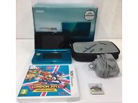 Nintendo 3DS - with case, charger, stylus, Mario Sonic, good condition