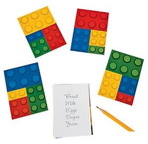 Pack of 12 - Colour Brick Block Notepads - Lego Party Bag Fillers
