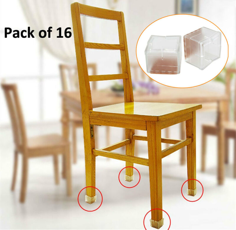 16pcs Square Silicone Chair Leg Caps Feet Pads Table