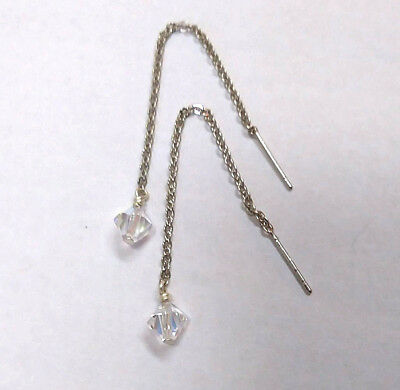 Silver Ear Threader Chain Dangle Drop Earrings with Clear AB Swarovski Crystals
