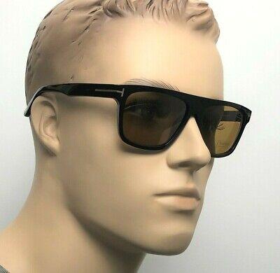TOM FORD CECILIO 02 Men Women Square Flat Top Sunglasses BLACK BROWN 0628 01E 57